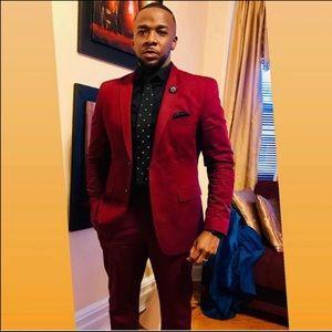Other - Slim fit men's burgundy suit